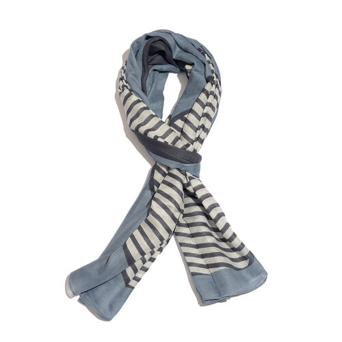Stripe Pattern Blue and White Colour Scarf (Size 180x100 Cm)