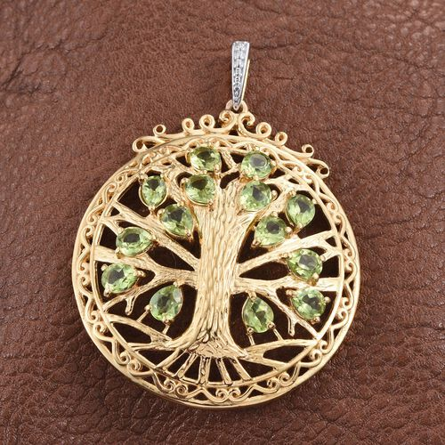AA Hebei Peridot (Pear) Tree Pendant in 14K Gold Overlay Sterling Silver 4.750 Ct.