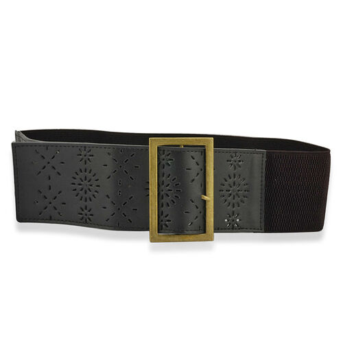 Black Leather Womens Belt with Brasstone Buckle (Size 32-34)