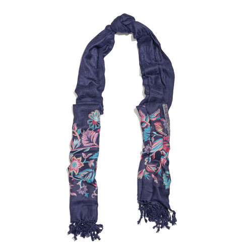 Navy, Red and Multi Colour Floral and Leaves Pattern Scarf with Tassels (Size 200X70 Cm)