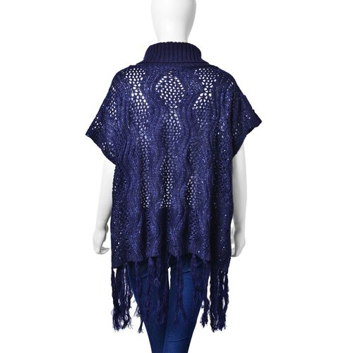 Winter Special - Navy Colour Wavy Pattern Knitted High Neck Poncho with Tassels (Size 70X60 Cm)