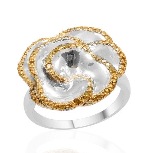 Treated Canary Diamond (Rnd) Rose-Design Ring in Platinum Bond 0.100 Ct.