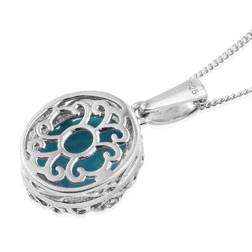 Arizona Sleeping Beauty Turquoise (Ovl), White Topaz Pendant With Chain in Platinum Overlay Sterling Silver 3.750 Ct.