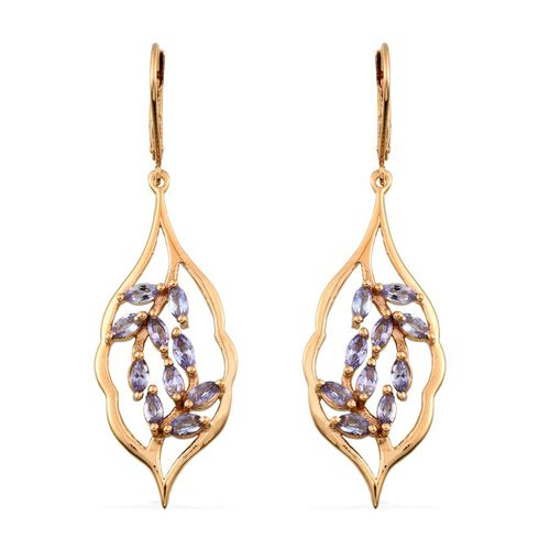 Tanzanite (Mrq) Lever Back Earrings in 14K Gold Overlay Sterling Silver 1.750 Ct.