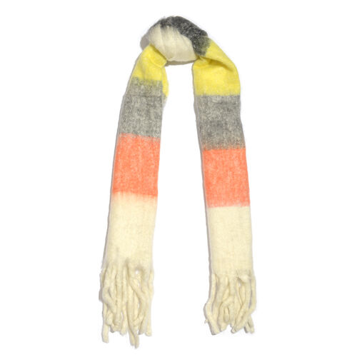 Limited Deal - Mohair Wool Blend (Mohair 25%) Neck Wrap - Multi Colour with Tassels (Size 160x30 Cm)