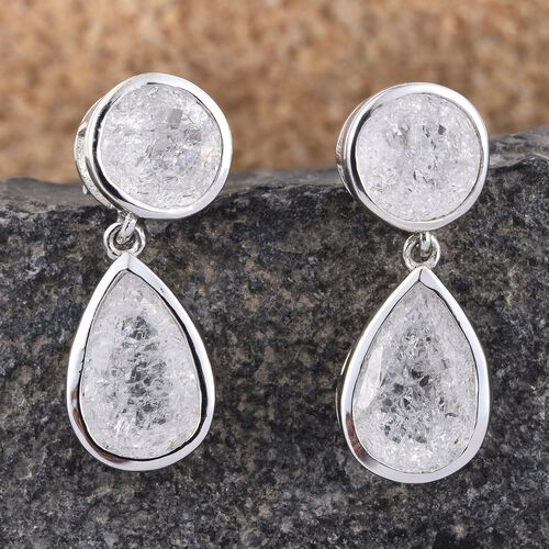 White Crackled Quartz (Pear) Earrings (with Push Back) in Platinum Overlay Sterling Silver 9.750 Ct.