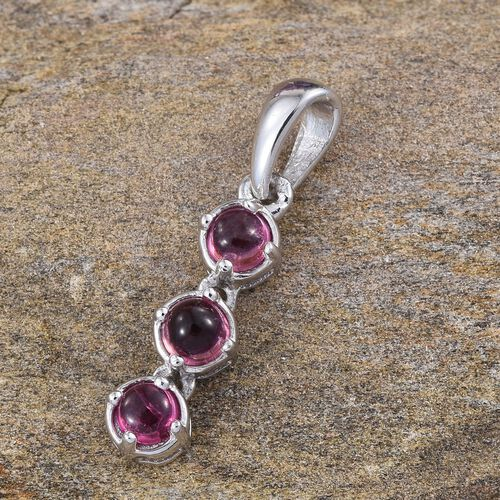 Pink Tourmaline (Rnd) Trilogy Pendant in Platinum Overlay Sterling Silver 0.650 Ct.