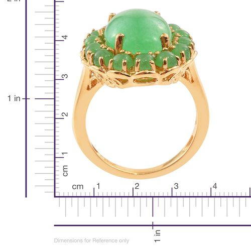 Green Jade (Ovl 5.75 Ct) Ring in 14K Gold Overlay Sterling Silver 8.250 Ct.