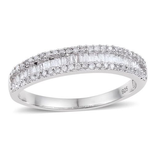 Diamond (Bgt) Ring in Platinum Overlay Sterling Silver 0.500 Ct.