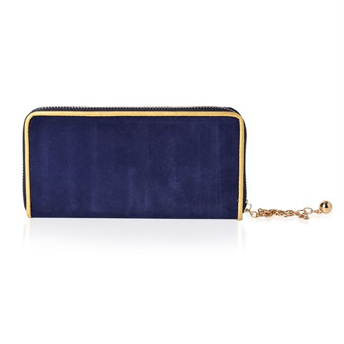 Navy Velvet Wallet with Gold Frame (Size 19.5x9.5x3 Cm)