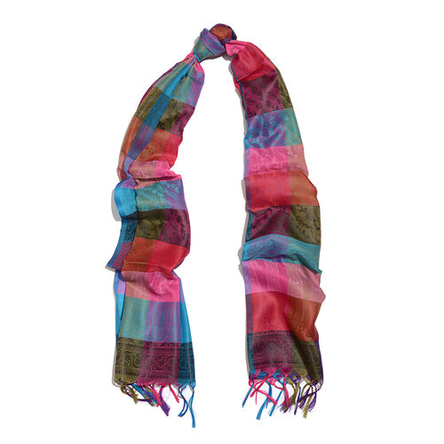 Blue, Pink, Red and Multi Colour Checks and Paisley Pattern Jacquard Scarf with Tassels (Size 170x50 Cm)