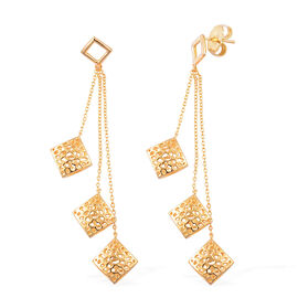 RACHEL GALLEY Memento Diamond Drop Earrings (with Push Back) in Yellow Gold Overlay Sterling Silver, Silver wt 8.64 Gms.