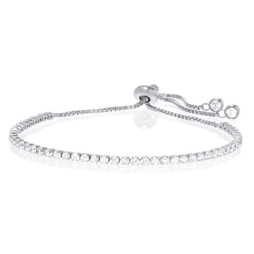 Close Out Deal AAA Simulated Diamond (Rnd) Adjustable Bracelet (Size 10) in Silver Bond