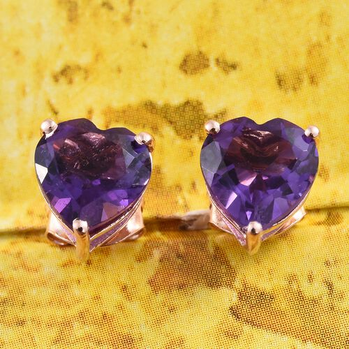 Amethyst (Hrt) Stud Earrings (with Push Back) in Rose Gold Overlay Sterling Silver 2.000 Ct.