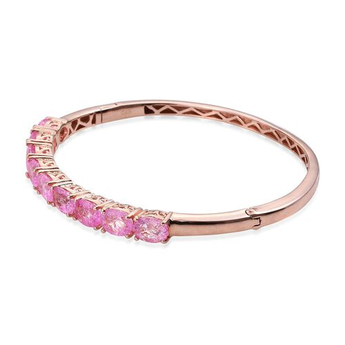 Hot Pink Crackled Quartz (Ovl) Bangle (Size 7.5) in ION Plated 18K Rose Gold Bond 10.250 Ct.