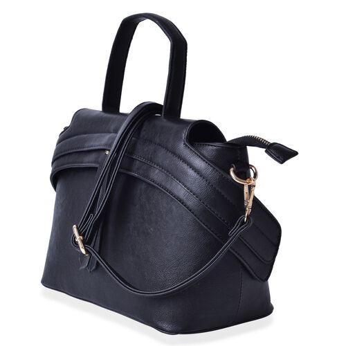Black Colour Tote Bag with External Zipper Pocket and Adjustable and Removable Shoulder Strap (Size 32x22.5x15 Cm)