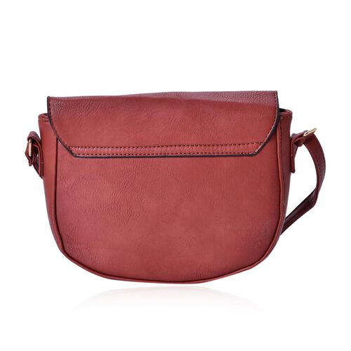 Hot Chocolate Colour Crossbody Saddle Bag with Adjustable Shoulder Strap (Size 20x17x6 Cm)