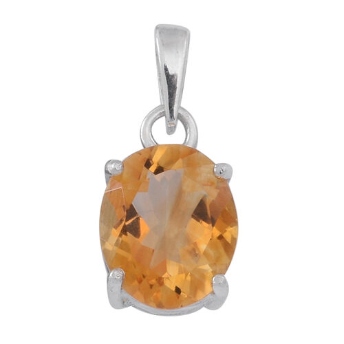 (Option 1) Citrine (Ovl) Solitaire Pendant in Sterling Silver 3.500 Ct.
