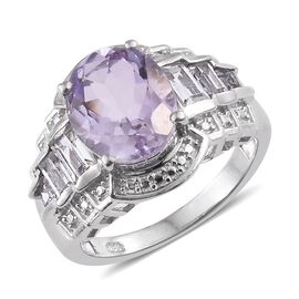 Rose De France Amethyst (Ovl 3.50 Ct), White Topaz Ring in Platinum Overlay Sterling Silver 4.500 Ct.