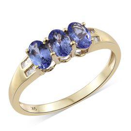 9K Yellow Gold AA Tanzanite (Ovl), Diamond Ring 1.500 Ct.
