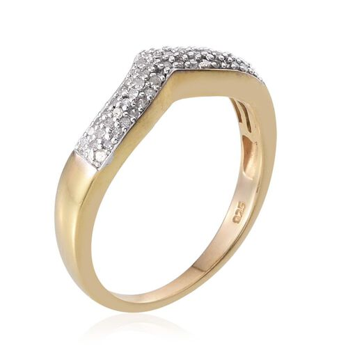 Diamond (Rnd) Stackable Chevron Ring in 14K Gold Overlay Sterling Silver 0.250 Ct.