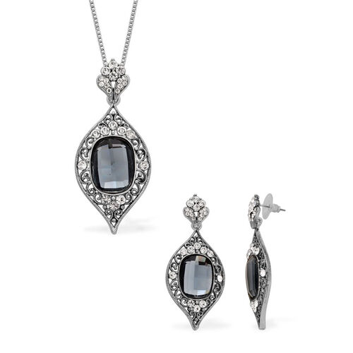 Grey Glass and White Austrian Crystal Earrings and Pendant with Chain (Size 18) in Silver Tone