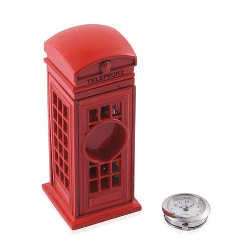 Home Decor - STRADA Japanese Movement White Dial Red Phone Booth Design Clock in Silver Tone