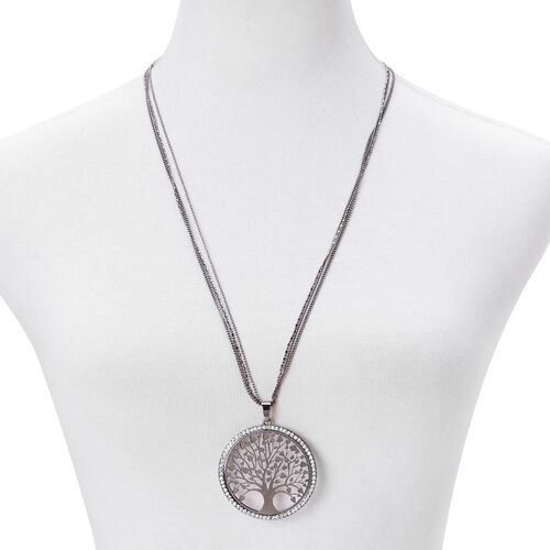 White Austrian Crystal Tree of Life Pendant With Chain (Size 28 with 2 inch Extender) and Hook Earrings in Black Tone