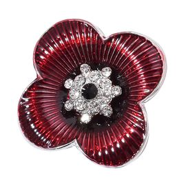 (Option 1) TJC Poppy Design - Black and White Austrian Crystal Enameled Poppy Flower Brooch in Silver Tone