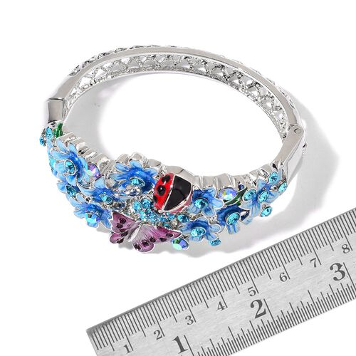 AAA Blue and Pink Austrian Crystal Multi Colour Enameled Lady Bird, Butterfly and Flowers Bangle (Size 7) in Silver Tone