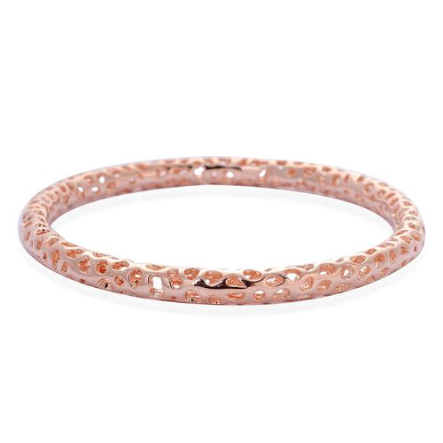 RACHEL GALLEY Rose Gold Overlay Sterling Silver Allegro Bangle (Size 8.25 / Large), Silver wt 17.90 Gms.