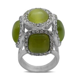 Simulated Green Cats Eye and White Austrian Crystal Ring in Stainless Steel