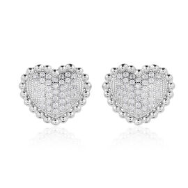 ELANZA AAA Simulated Diamond (Rnd) Heart Stud Earrings (with Push Back) in Rhodium Plated Sterling Silver