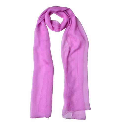End Of Season Deal-100% Mulberry Silk Purple Orchid Colour Scarf (Size 170X60 Cm)