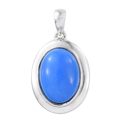 Ceruleite (Ovl) Solitaire Pendant in Platinum Overlay Sterling Silver 4.750 Ct.
