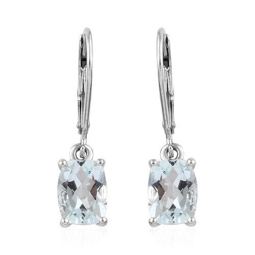 Espirito Santo Aquamarine (Cush) Lever Back Earrings in Platinum Overlay Sterling Silver 2.500 Ct.