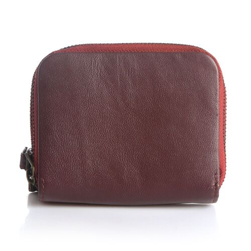 Genuine Leather RFID Blocker Burgundy Colour Ladies Wallet (Size 12x11x2 Cm)