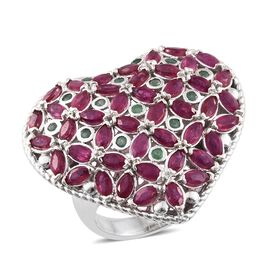 AAA African Ruby (Mrq), Kagem Zambian Emerald Heart Ring in Platinum Overlay Sterling Silver 5.750 Ct. Silver wt. 10.22 Gms.
