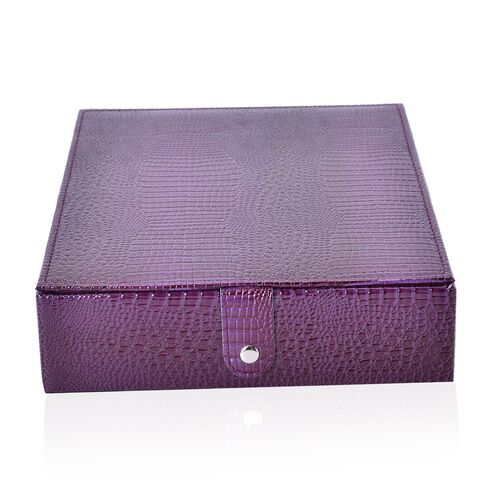 Purple Lizard Skin Pattern Embossed (80-100 Slot) Ring Box (Size 28X22X6 Cm)