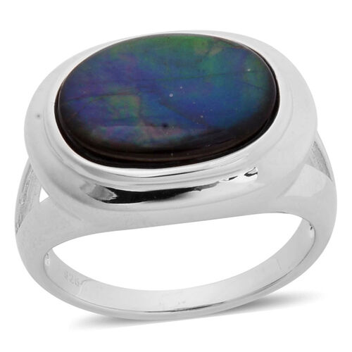 Canadian Ammolite (Ovl) Solitaire Ring in Platinum Overlay Sterling Silver 3.500 Ct.