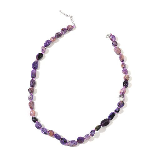 Hand Knotted Russian Chaorite Necklace (Size 18 with 2 inch Extender) in Rhodium Plated Sterling Silver 195.000 Ct.