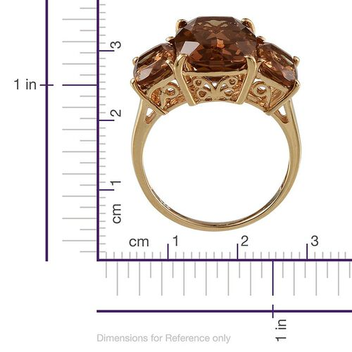 Alexite (Cush 6.25 Ct) 3 Stone Ring in 14K Gold Overlay Sterling Silver 9.000 Ct.