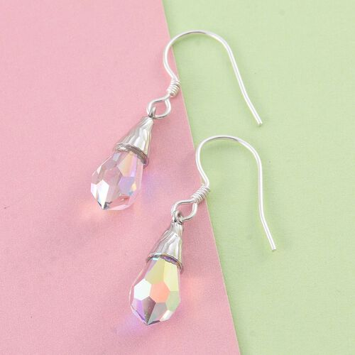 J Francis Crystal from Swarovski - AB Crystal Drop Hook Earrings in Sterling Silver
