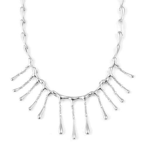 LucyQ Multi Drip Necklace (Size 16 with 4 inch Extender) in Rhodium Plated Sterling Silver 42.58 Gms.