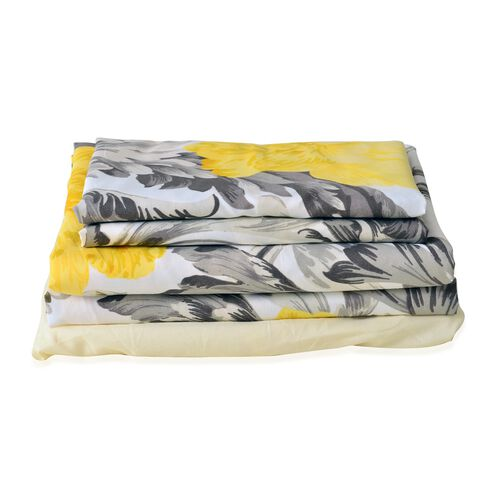 Set of 4 - Double Size Printed Duvet Cover with Yellow and Grey Floral Design with King Size Fitted Sheet and Two Pillow Shams