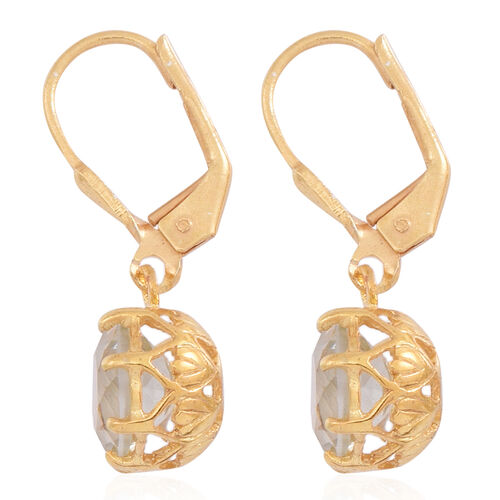Green Amethyst (Rnd) Lever Back Earrings in 14K Gold Overlay Sterling Silver 3.500 Ct.