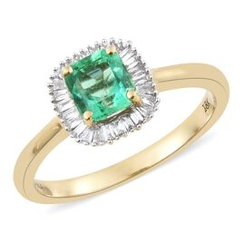 ILIANA 1.15 Ct AAA Boyaca Colombian Emerald and Diamond Halo Ring in 18K Gold