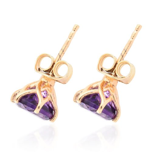Amethyst 2.25 Ct Silver  Stud Earrings (with Push Back) in Gold Overlay