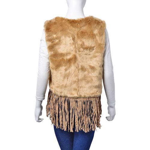 Coffee Colour Faux Fur Vest with Tassels (Size 50x45 Cm)