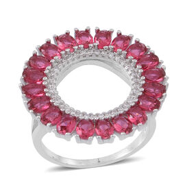 ELANZA AAA Simulated Ruby (Ovl), Simulated Diamond Ring in Rhodium Plated Sterling Silver